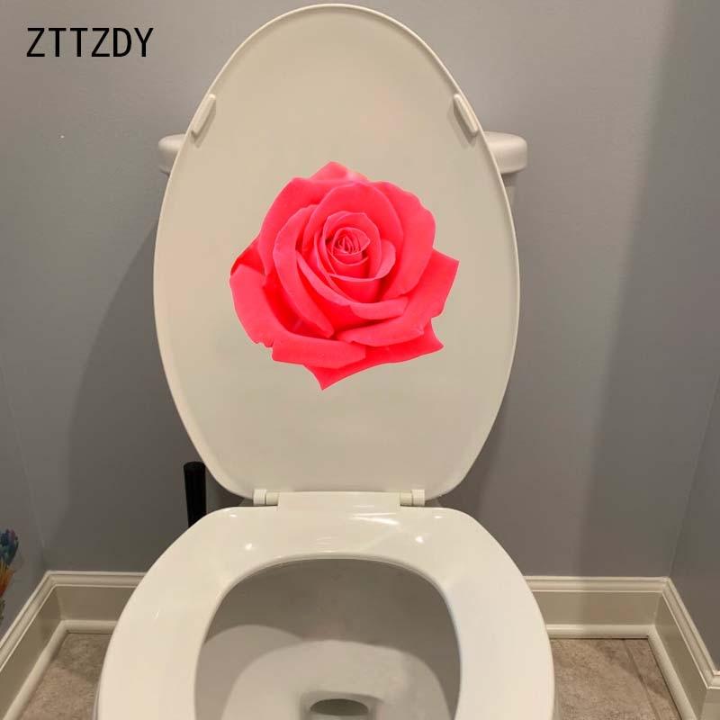 ZTTZDY 22,1*22 CM hermosa rosa roja flor Toiler asiento pegatinas chica dormitorio pared calcomanía decoración T2-0437