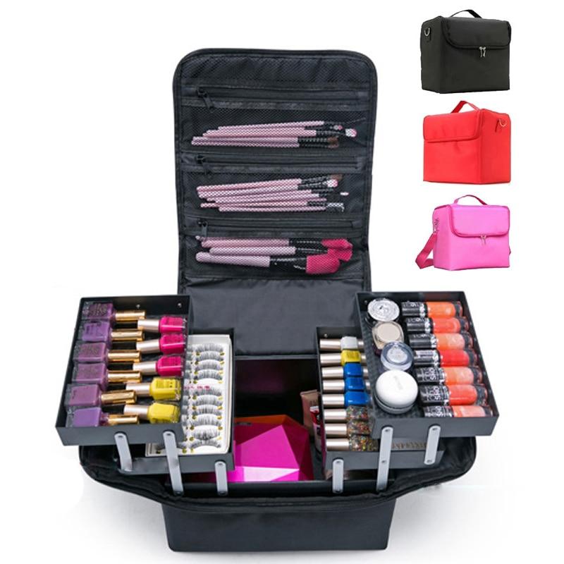 Fashion Women Makeup Large Capacity Multilayer Clapboard Cosmetic Bag Case Beauty Salon Tattoos Nail Art Tool Bin