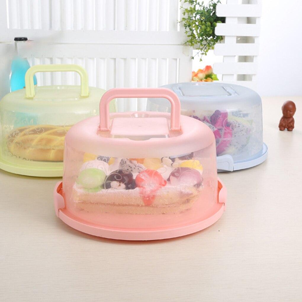 Caja de almacenamiento de plástico Feiqiong, caja de pastel redonda, asa de transporte, soporte de pastelería, contenedor de postre con cubierta, accesorios de cocina