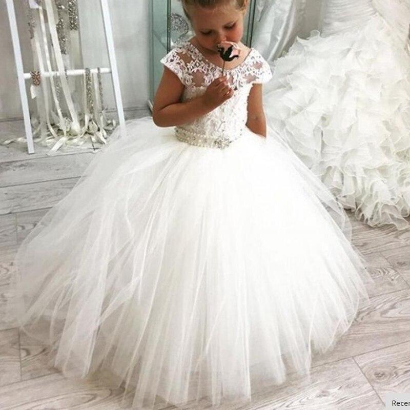 Новые кружевные платья с цветочным рисунком для девочек, свадебные платья, детские вечерние платья, платья для первого причастия для девоче...