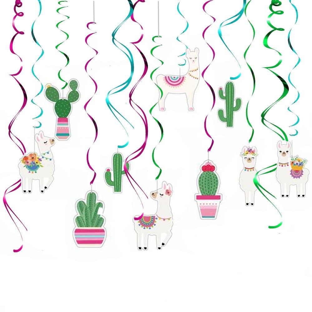 30 stücke Lama Kaktus Hängen Swirl Dekorationen, Lama Themed Party Liefert, Bolivianischen Peru Alpaka