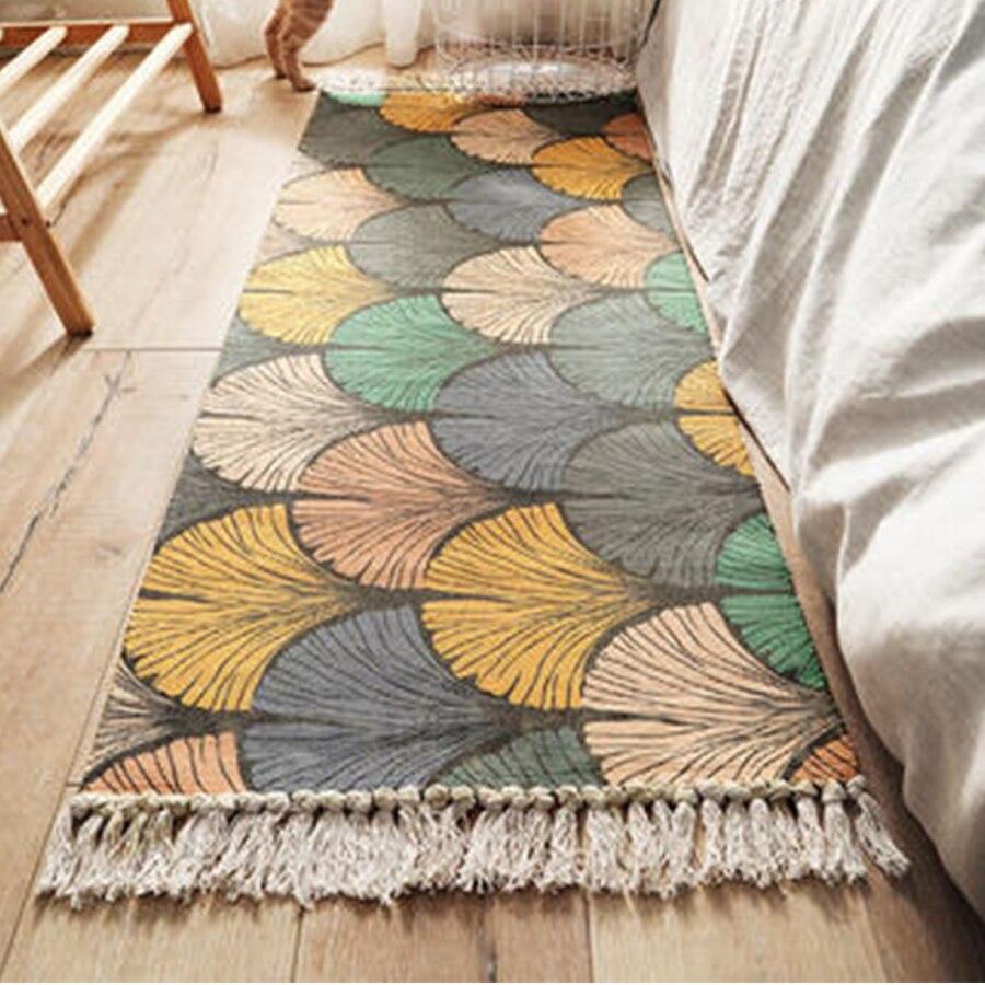 Algodão linho tapete de cabeceira tecido tapete do banheiro sala estar tapetes geométrico feito à mão indiano bohemia moderno tapete impressão
