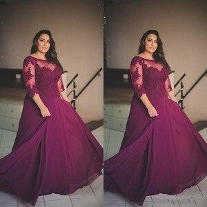 abendkleider Eggplant Evening Dresses Sheer 34 Sleeves Chiffon Plus Size Formal Dress Evening Gowns Custom Made vestido de festa