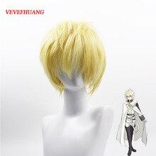 VEVEFHUANG Seraph de la fin Mikaela Hyakuya 32 cm perruque Cosplay cheveux synthétiques courts blond doré résistant à la chaleur