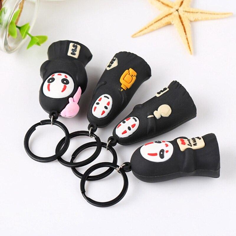 Брелок для ключей от японского аниме Ghibli Miyazaki Hayao, милый детский брелок без лица, игрушечное кольцо с подвеской, упитанное от спиралей Kaonashi