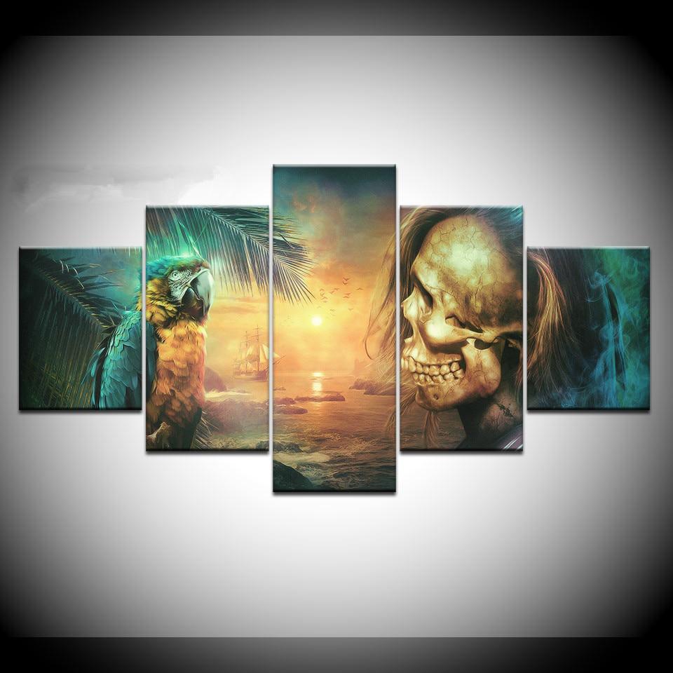 Lona impresiones de alta definición fotos arte de la pared de sala Decor cartel 5 piezas Derevya Popugay Polet loro cráneo pinturas marco