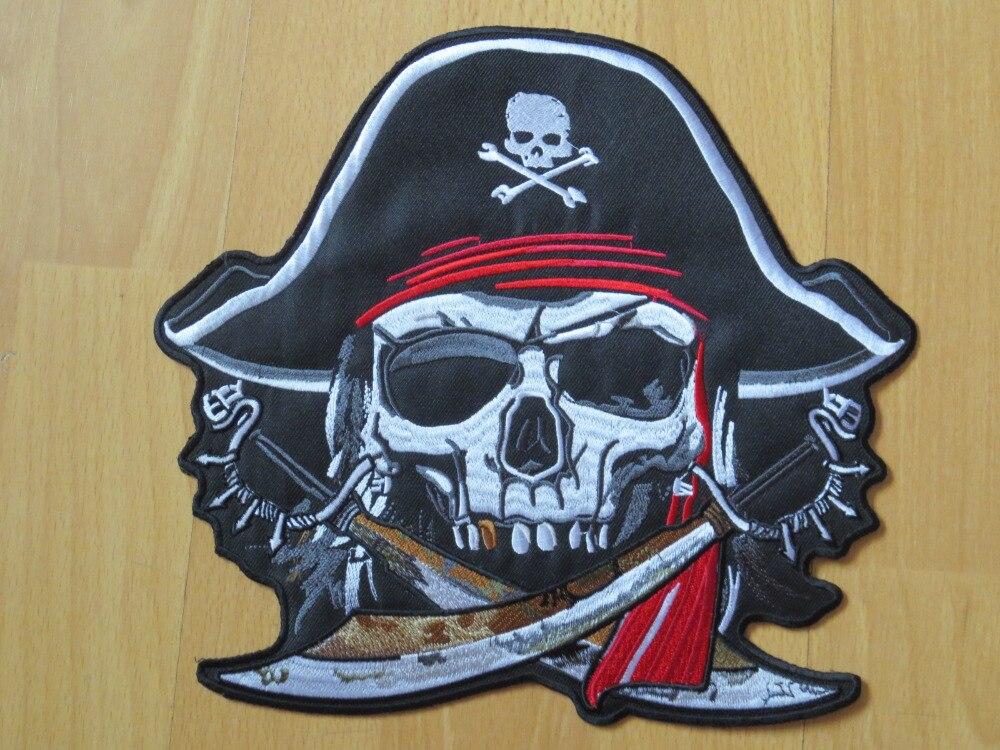 9,6 дюймов череп пират duoble Broadsword Большой Вышивка Патчи для куртки жилет на заднюю часть мотоцикла байкер