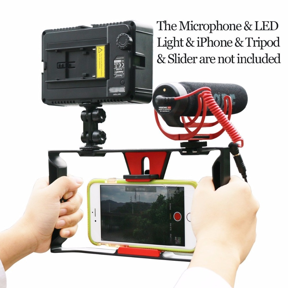 Ulanzi Handheld Video Rig Stabilisator für Live-streaming/Vlogger/Youtube mit 96 Led Video Licht & Ritt VideoMicro mikrofon