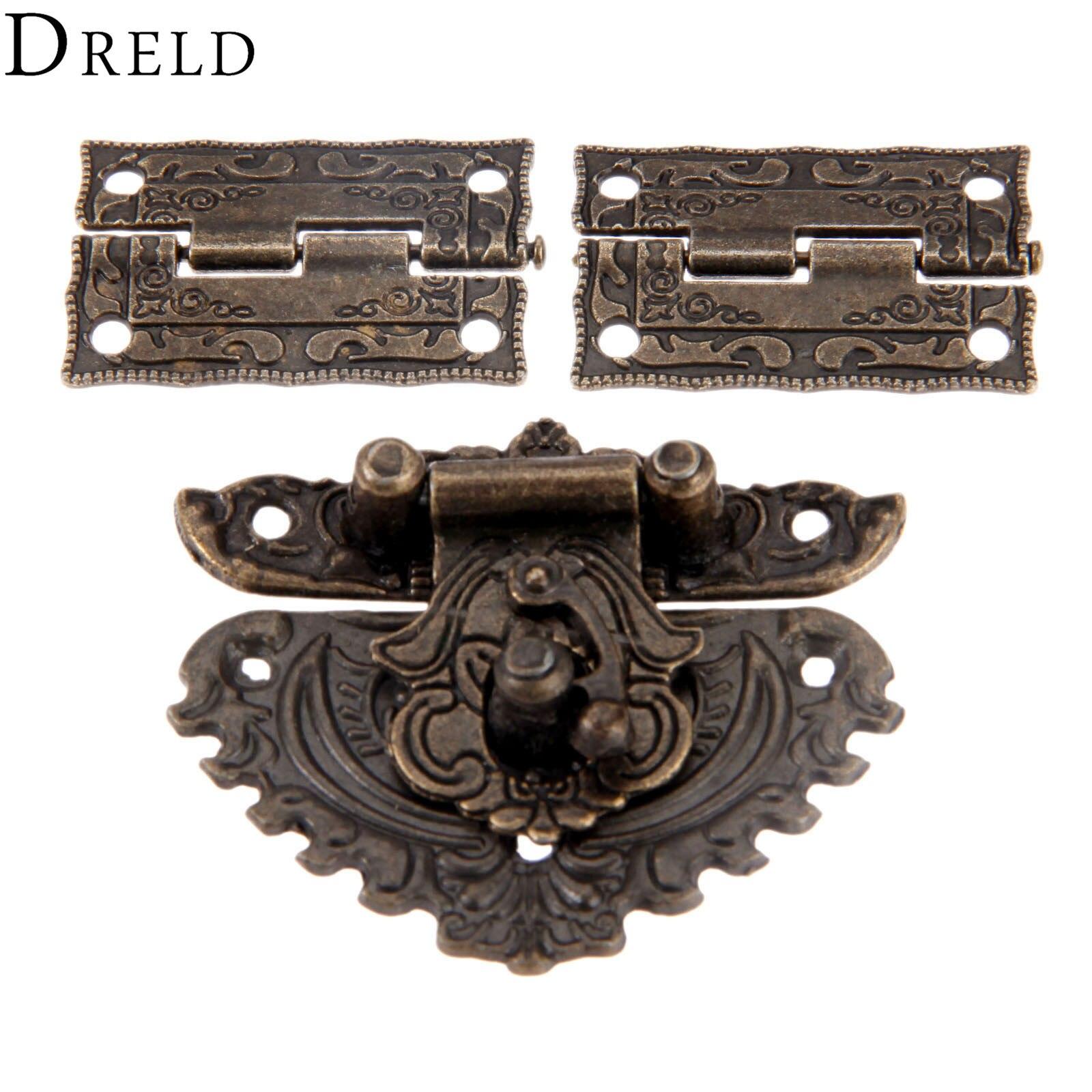 DRELD Antique Bronze Furniture Hardware Box Latch Hasp Toggle Buckle + 2Pcs Decorative Cabinet Hinge