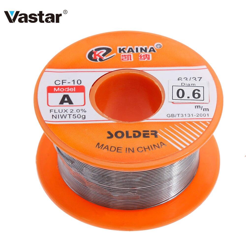 Vastar 0.6/0.8/1/1.2/1.5MM 63/37 שטף 1.2% / 2.0% 45FT טין טין עופרת חוט ממיסים רוזין Core הלחמה הלחמה חוט רול