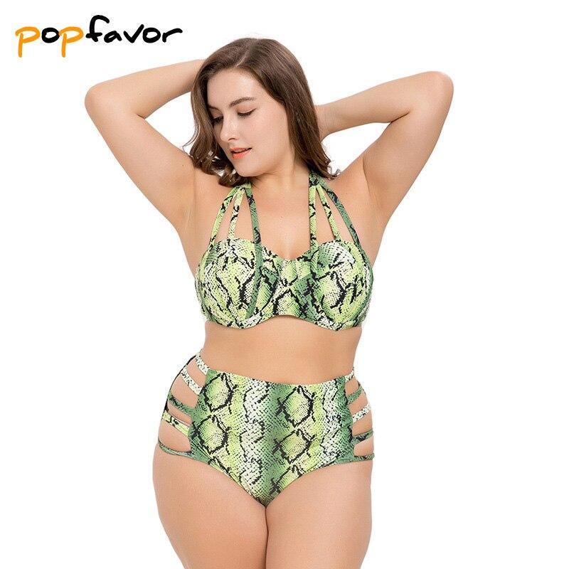 POPFAVOR ביקיני סט 2018 בתוספת גודל שומן ביקיני נשים תחבושת בגד ים מתכוונן לדחוף את סקסי דק ביקיני גבוה מותניים בגדי ים