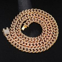 US7 13mm Miami lien cubain chaîne colliers Bracelets glacé cristal strass Bling Hip hop collier pour hommes femmes bijoux