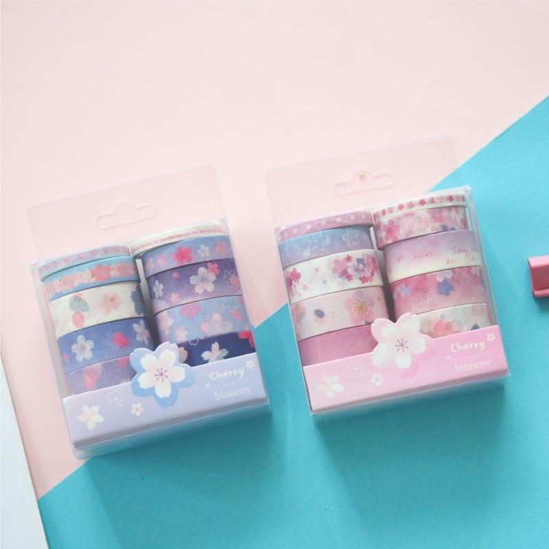 10 unids/pack Cerezo Sakura rosa azul bala diario conjunto de cintas washi cinta adhesiva Scrapbooking DIY etiqueta engomada etiqueta adhesiva