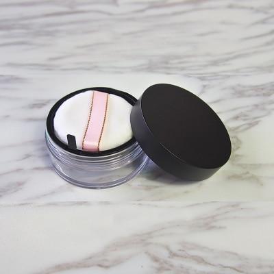 10 unids/lote 20g negro vacío cosmético polvo suelto maquillaje envase recargable botella con tamiz & Puff & tela de malla elástica