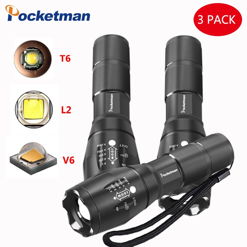 7500 LM linterna XP-L-V6 LED linterna T6/L2/V6 Zoomable 5 modos linterna LED linterna para Camping por 18650
