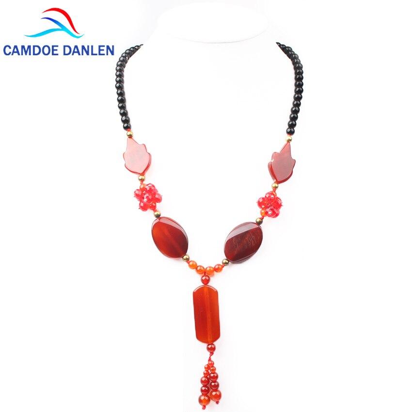 2017 quatro design natural pedra boho colares carnelian onyx grânulos 50 cm longo colar pingentes boêmio feminino jóias colar