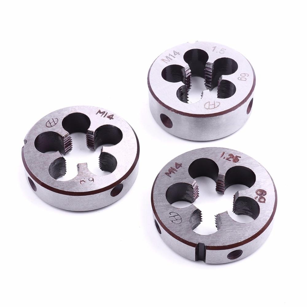 Venta al por Mayor 3 unids/set M14 rosca métrica troquel alta dureza aleación herramienta acero 14mm diámetro roscado herramientas paso 1mm 1,25mm 1,5mm