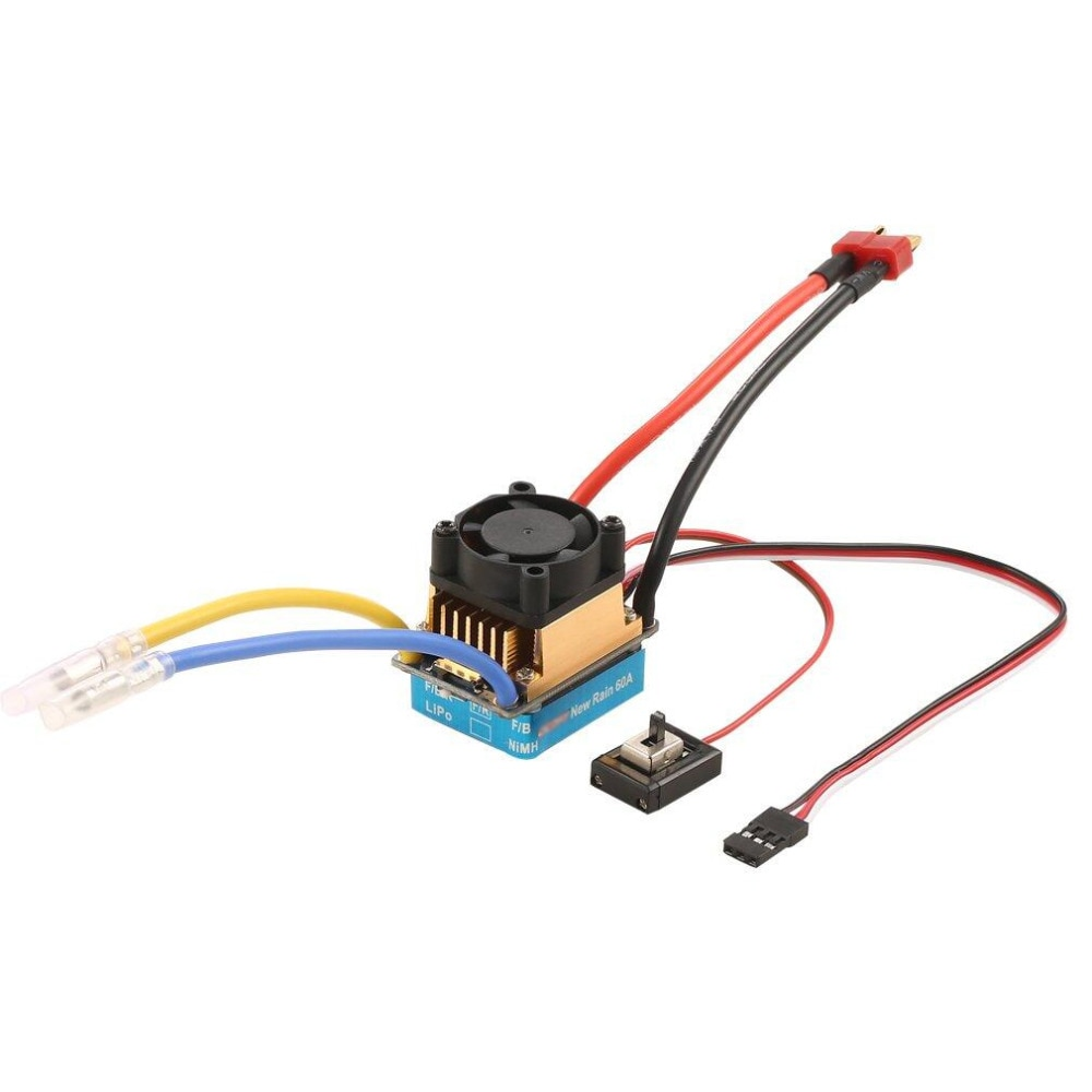 Rc 2-3 Lipo/6-9NiMH 60A Dual Mode Brush Speed Controller With Cooling Fan For 1/10 RC Car enlarge