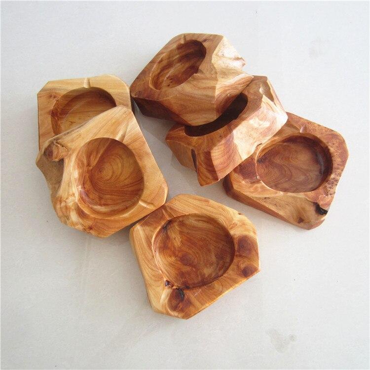 Cenicero redondo de madera marrón de bolsillo Cenicero de madera maciza 50 Uds Cenicero de coche Cenicero de madera wen6723