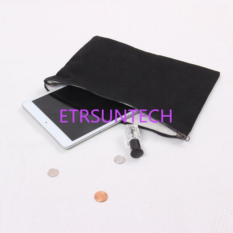6 قطعة 28 سنتيمتر x 20 سنتيمتر الطبيعي أسود أبيض قماش حقيبة مع سستة تخزين أكياس لباد باد البسيطة التجميل حقيبة و السفر المكياج الحقيبة