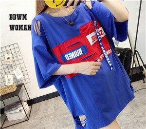 Retales de tela con agujero para mujer, camiseta roja, blanca, negra, con contraste agudo, estilo de Color, camisetas con alfabeto, camisa femenina ZO43