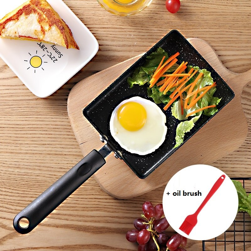 Tortilla antiadherente de 15x19cm, sartén Tamagoyaki, rectángulo de aluminio para huevos, panqueques, ollas de cocina para cocina de inducción de Gas