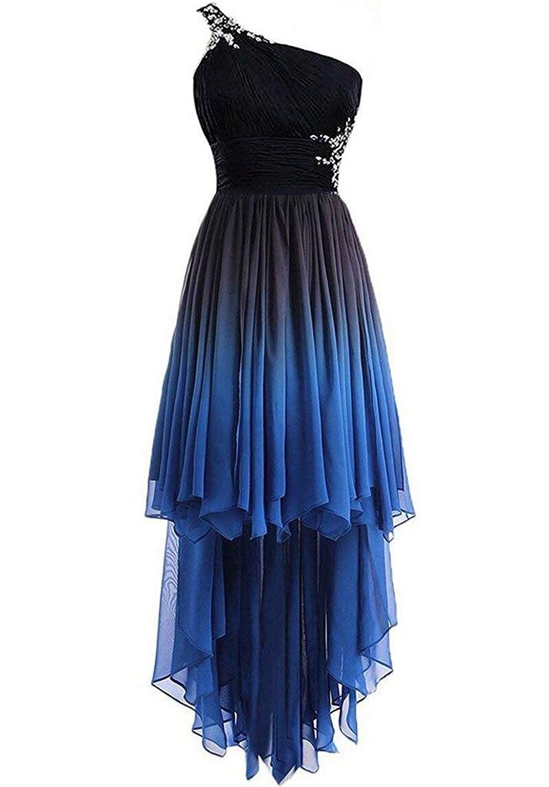Bealegantom 2019 un hombro Hi-Lo gradiente de gasa corto vestidos de graduación Ombre cuentas cristal vestido de noche Fiesta de bienvenida QA1565