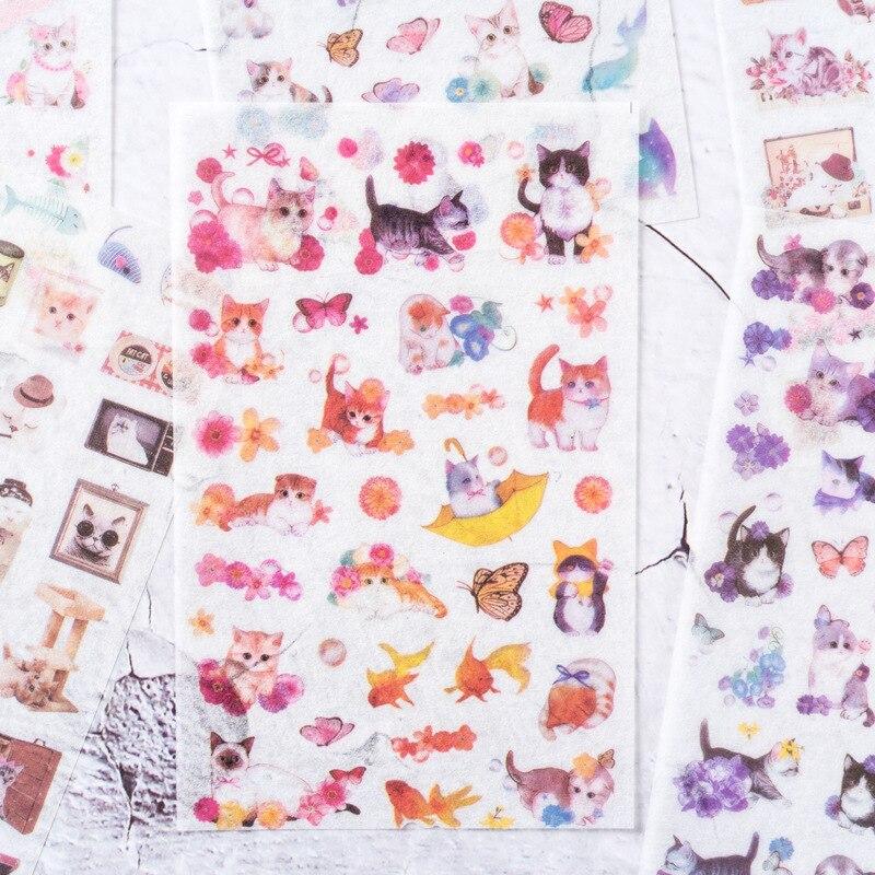 6-hojas-paquete-jugueton-gatos-pegatina-de-papel-diy-diario-decoracion-pegatina-para-lacteos-album-scrapbooking-de-la-oficina-de-la-escuela-de