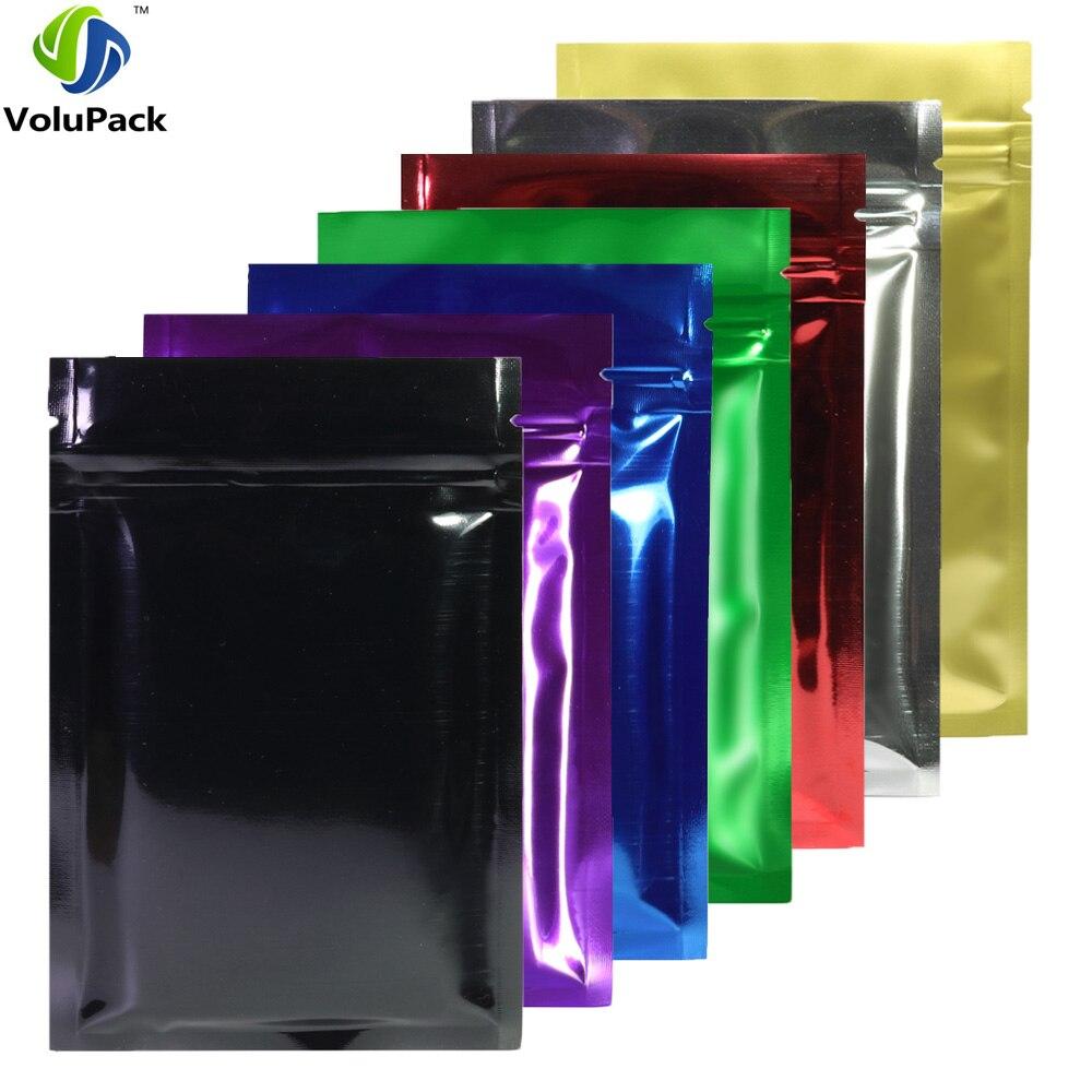 8,5x13 см (3,25x5 дюймов) 100 шт. глянцевые синие/Серебристые/зеленые/красные/Золотые/фиолетовые/черные сумки на молнии из металлической фольги плоский замок на молнии мешочки