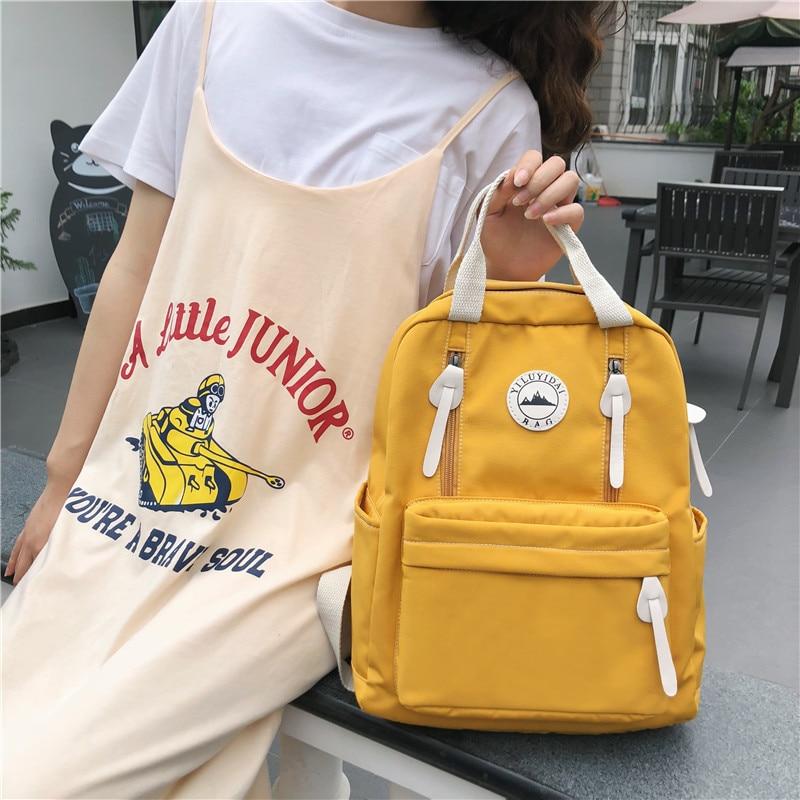 DCIMOR de nylon impermeable mochila mujer anillo hebilla de viaje mochila para chicas adolescentes mochila Vertical zipper para mochila