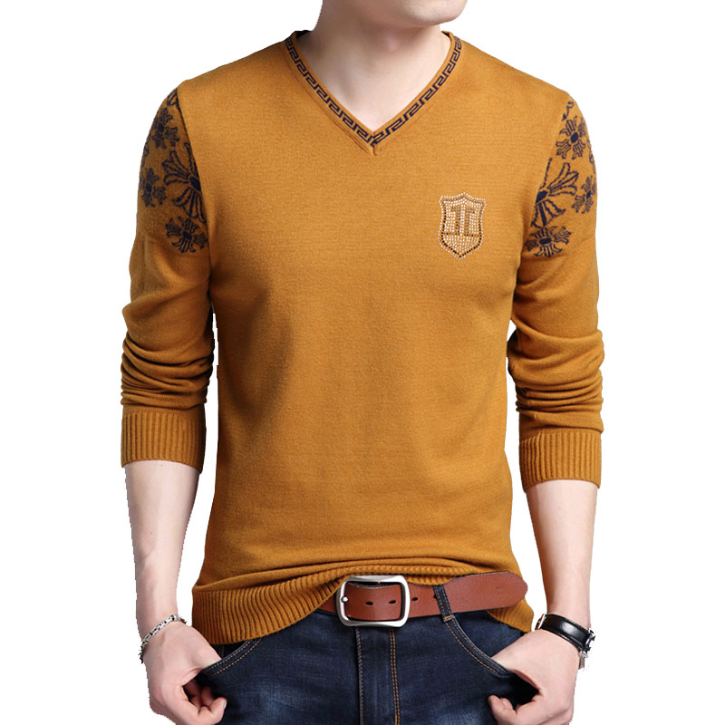 Men sweater thin 2020 new autumn and winter fashion v-neck plus size male knitted tops pullovers vintage teenage boy M16