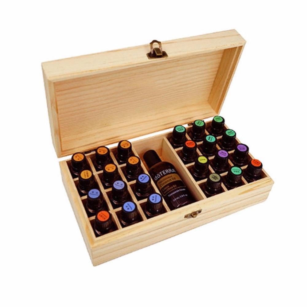 Frascos de aromaterapia de madera maciza con 25 ranuras, soporte para caja de aceites esenciales, organizador de almacenamiento para el hogar, 18,3x18,3x8,3 cm, madera de pino