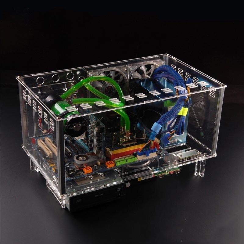 QDIY PC-D779X Bunte Horizontale ATX Acryl Transparent Desktop PC Wasser Kühlung Computer Fall