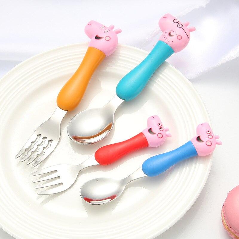Juego de vajilla Peppa Pig, cuchara, horquilla de cruce, cuchara para sopa, almuerzo, figuras de acción George, figuras de Anime, juguetes para niños, el mejor regalo