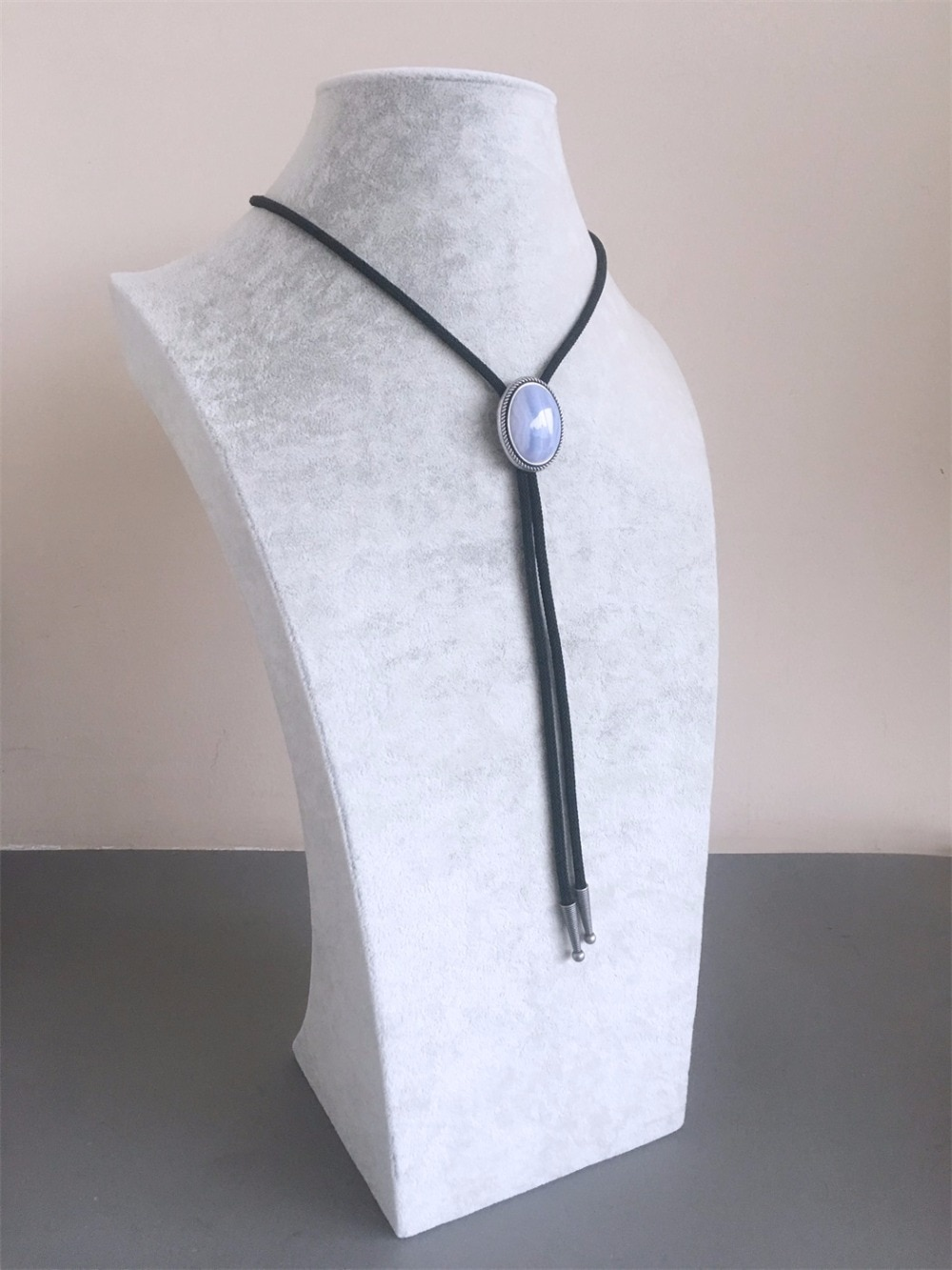 New Vintage Silver Plated Nature Blue Ripple Agate Stone Bolo Tie Each Nature Stone is Different BOLOTIE-014