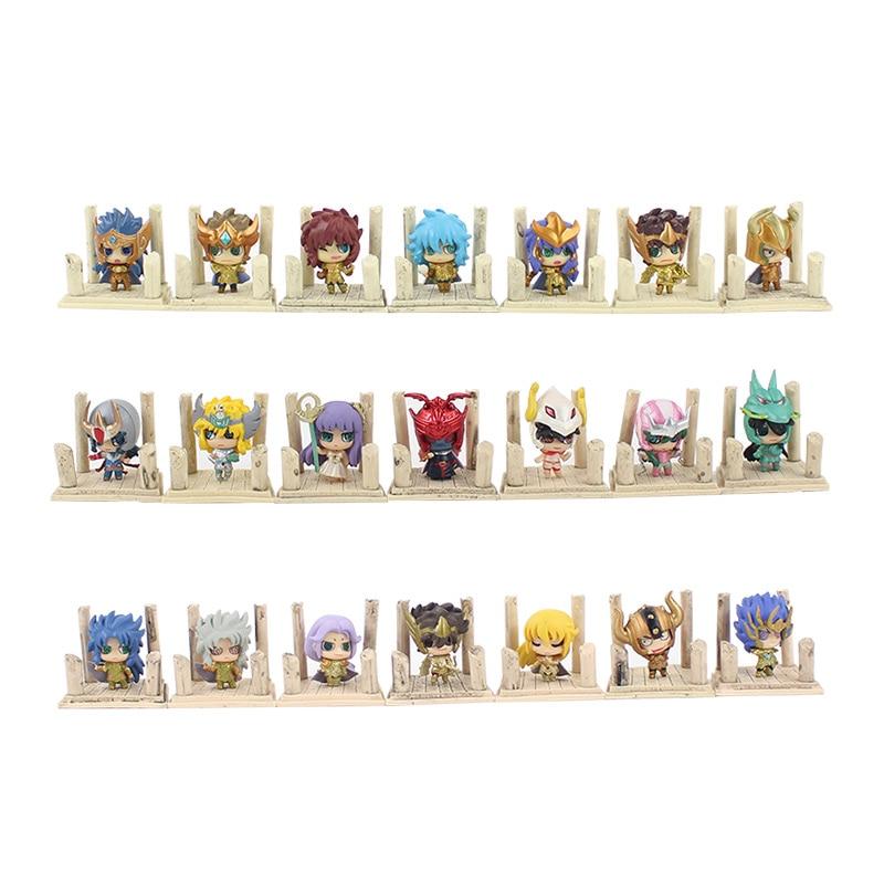 21 pièces/lot 4cm Seiya Shiryu Shun Hyoga Jabu Shaka Saga Kanon PVC figurine jouets Anime modèle jouets
