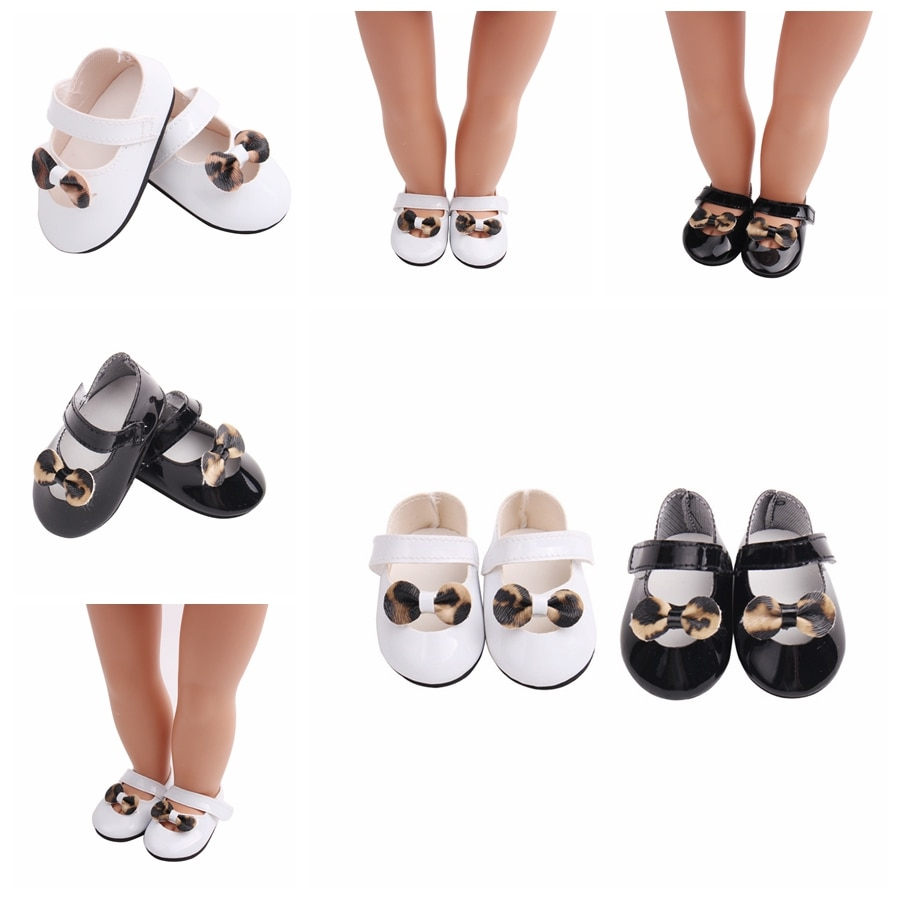 7cm Fashion Leopard Bow Doll Shoes For 43cm Born Baby Doll Shoes Sneakers Fit For 18 inch Doll Shoes Toy Boots Doll Accessories недорого