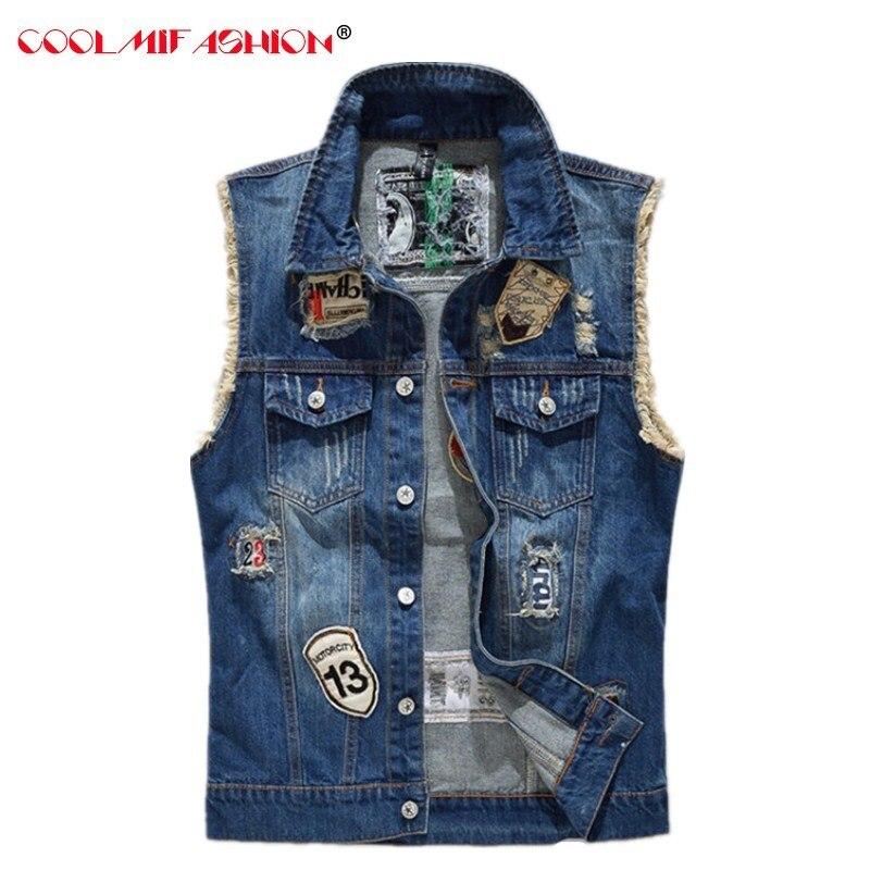 Мужской джинсовый жилет CooLMiFashion, облегающий джинсовый жилет в ковбойском стиле, синий жилет с вышивкой в виде банды мотоцикла