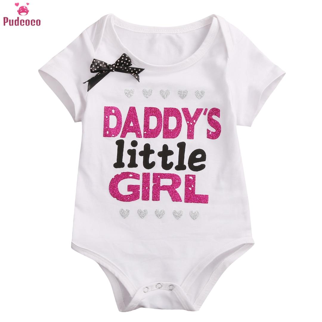 Pudcoco, ropa para bebé recién nacido, pelele para niña, mono, atuendo con estampado de letras, Pelele de princesa de manga corta para papá mamá
