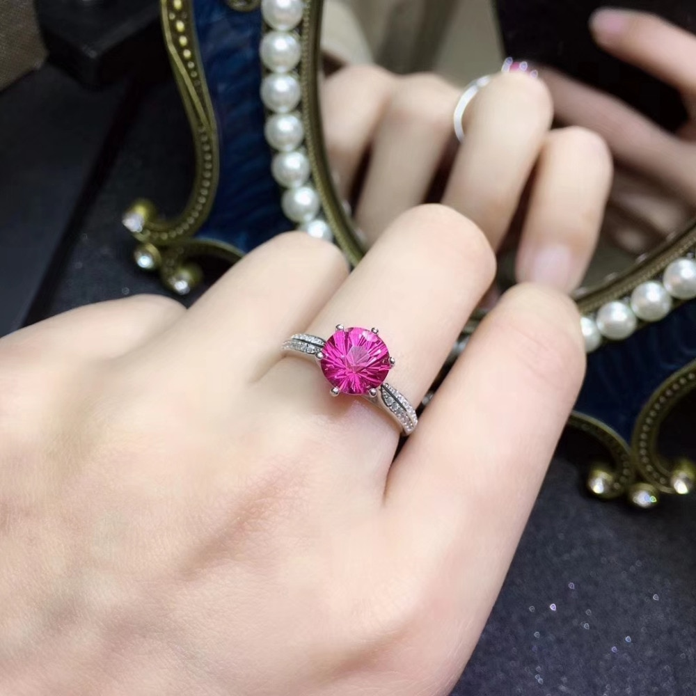 Anillo de plata S925 con gema de topacio rosa con fuegos artificiales naturales redondas bonitas clásicas, anillo de piedras preciosas naturales para mujer, regalo de fiesta, joyería fina