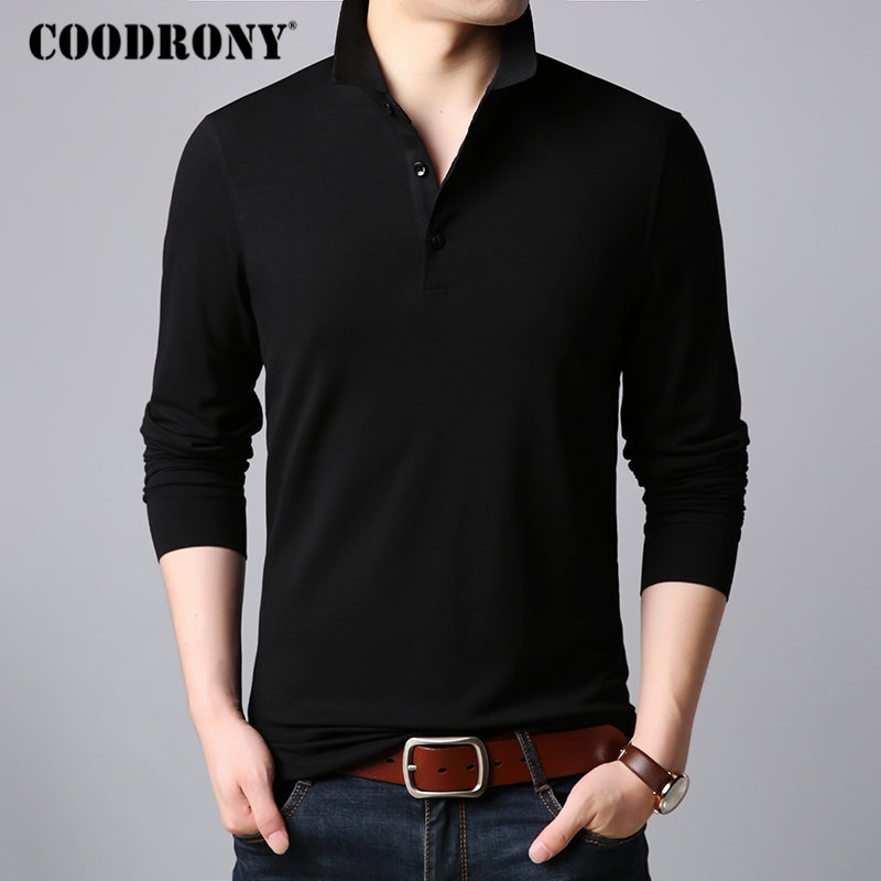Coodrony clássico casual turn-down collar camisa masculina de manga longa t camisa masculina multicolorido camiseta de algodão macio camisa homme 95016