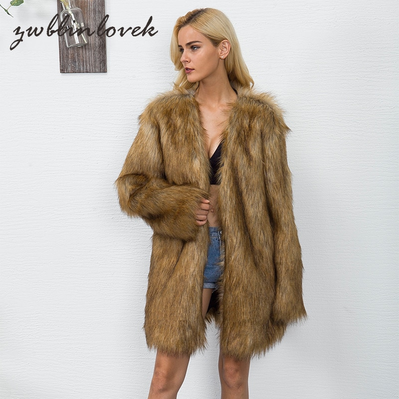 hairy maclary scattercat New Women Fur Coat Jacket Winter Thicken Warm Furry Shaggy Outerwear Long V-neck Collarless Hairy Parkas Oversize 2C0134