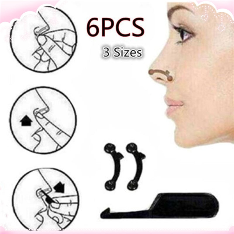 6PCS/Set 3 Sizes Beauty Nose Up Lifting Bridge Shaper Massage Tool No Pain Nose Shaping Clip Clipper