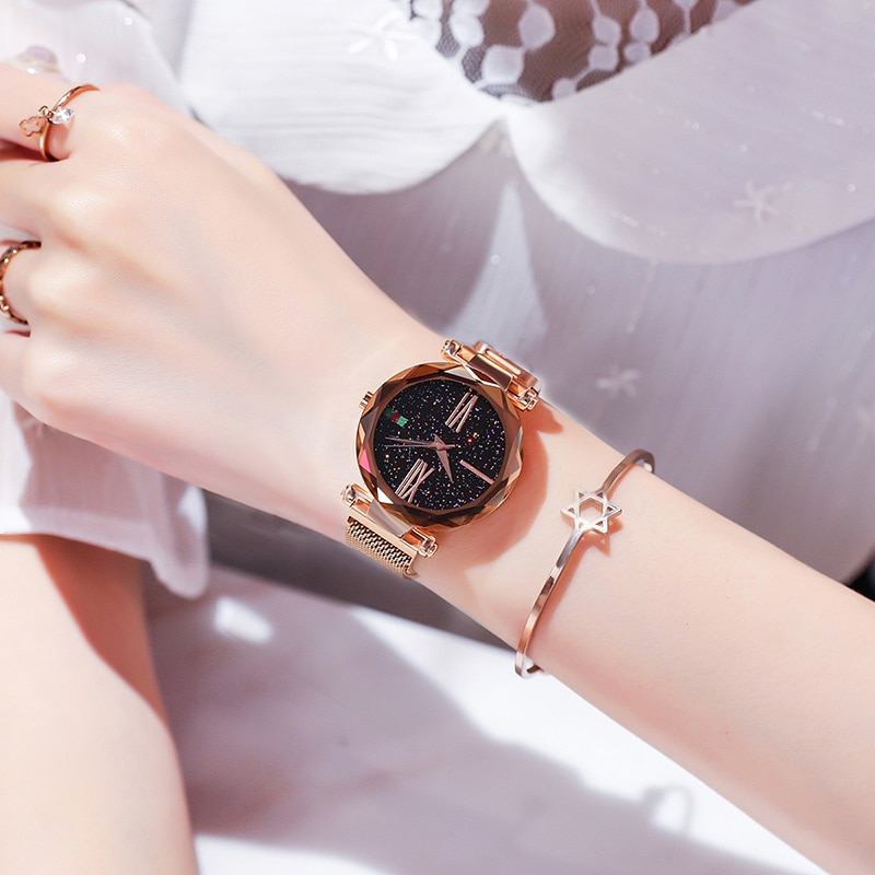 Best Selling Women Mesh Magnet Buckle Starry Sky Watch Casual Luxury Women Geometric Surface Quartz Watches Relogio Feminino+Box enlarge