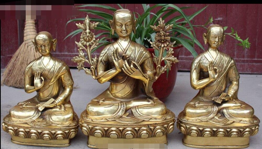 "5 ""Tíbet Budismo Latón Conjunto R0711 Protector Deidad En Lotus Yhe Tsongkhapa Estatua de Buda"