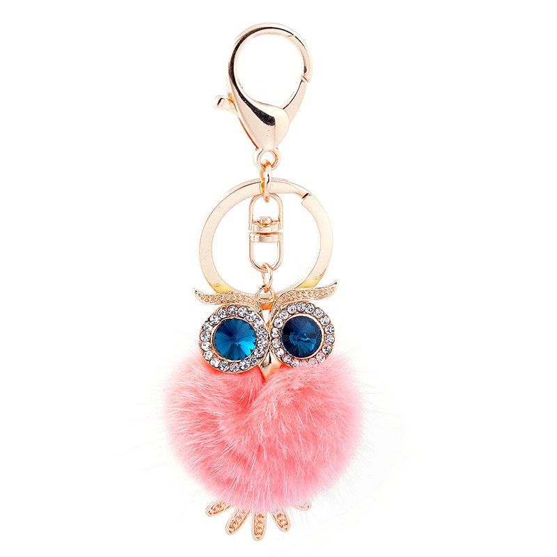 New Cute Owl Keychains Pompom Mink Fur Ball Key Chain Car Keyrings Women Key Holder Bag Charm Jewelry Pendant