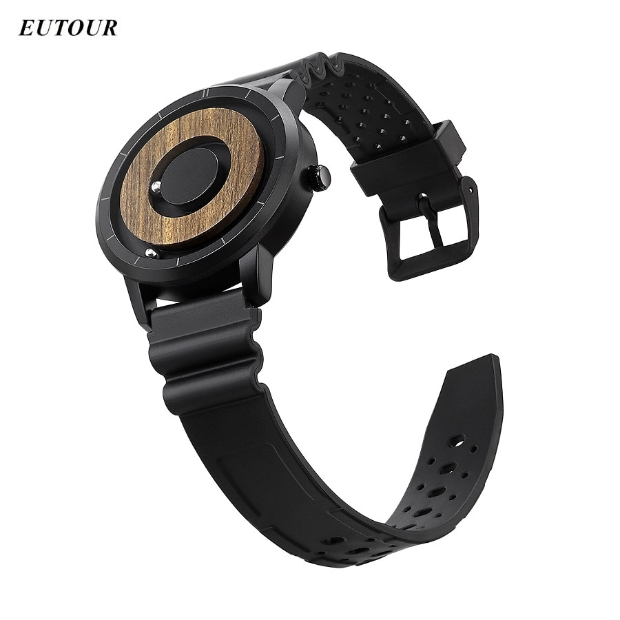 EUTOUR-ساعة رجالية مغناطيسية ، ساعة يد رجالية ، جلد سيليكون وسوار فولاذي ، كوارتز ، فريدة من نوعها لـ Blindman 2020 zegarek meski