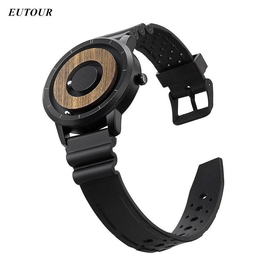 Relógio de Silicone Pulso para Blindman Eutour Relógio Masculino Bola Magnética Pulseira Aço Quartzo Único 2021 Zegarek Meski