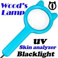 Portable Woods Lamp for Vitiligo Examination Skin Analyzer Machine Pet Fungus Urine test for cat Blacklight UV Lamp Magnifier