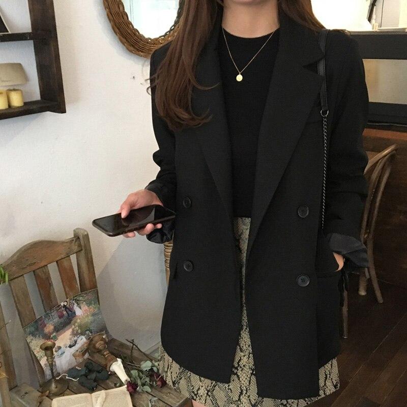 Terno feminino jaqueta 2019 novo outono magro duplo breasted preto longo-mangas compridas terno moda roupas femininas